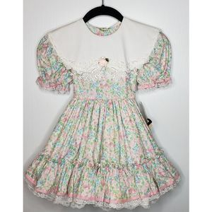 VTG 80s Gold Bell Circle Ruffle Cottage Core Dress